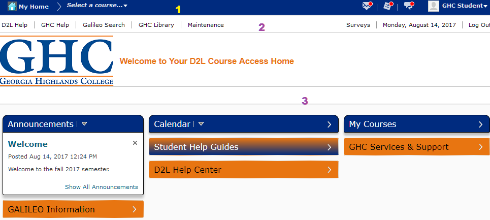 GHC D2L Student Guide My Home Page
